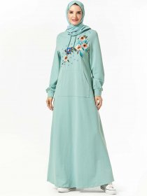 Fashion sweater hooded pocket plant embroidered long sleeve Arabian dress (excluding headscarf)
