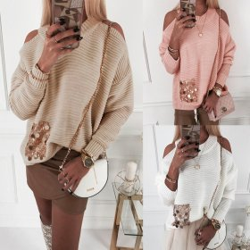 Sexy round neck off shoulder bead slice long sleeve hot sale top