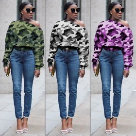 Camouflage one line diagonal shoulder buckle long sleeve sexy women's casual sweater