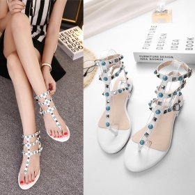 Colorful flat heel herringbone rivet T-Strap ROMAN SANDALS