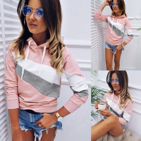 Fashion casual color matching Long Sleeve Sweater Top
