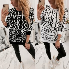 Round neck casual special letter loose long sleeve top