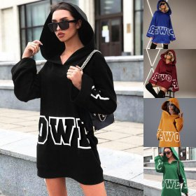 Printed letter hooded long sleeve loose sweater