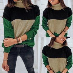 Fashion casual color matching high neck long sleeve top
