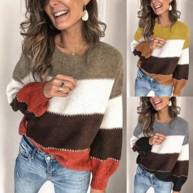 Fashion stripe Round Neck Long Sleeve Sweater Top