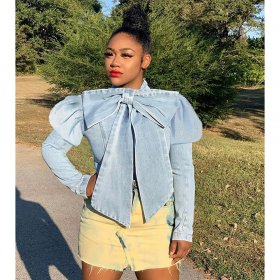 Bow puff sleeve denim top