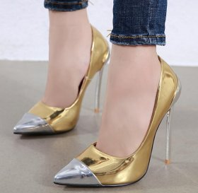 Metal pointed thin high heels single shoes light mouth color matching women's single shoes