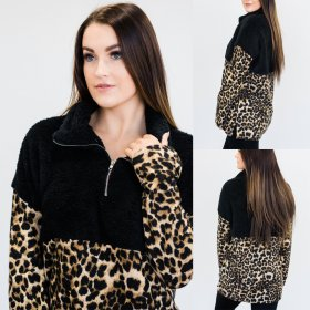 Featured high neck zipper and leopard print top