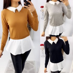 Fashion color matching crystal collar A-line shirt skirt casual fit top