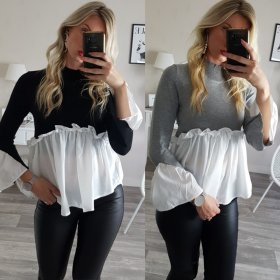 Sweet Lace Panel tight long sleeve T-shirt