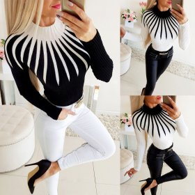 Fashion casual color matching high neck sweater top