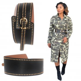 Punk style rivets slant with personalized fashion and wide waist closure slant with belt