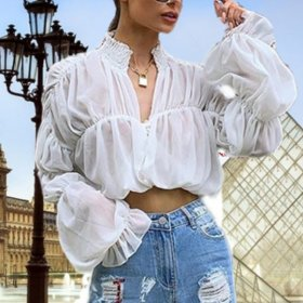 Sexy Chiffon pleated lace up sunblock top