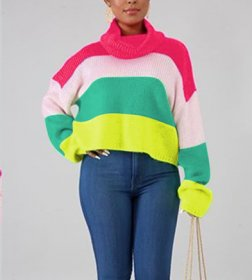 High neck sweater color blocked sweater