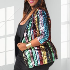 Color stripe bead sequin with lining coat