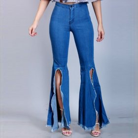 Fashionable and versatile wide leg pants with split hem and slim fit jeans elastic flared pants