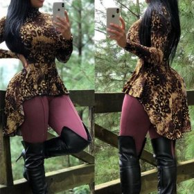 Long sleeve irregular Leopard Print Blouse