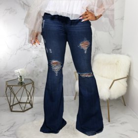 Water washed denim stretch fit flared pants