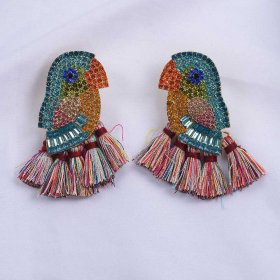 Creative earrings with cockatoo and tassel