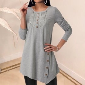 Solid round neck long sleeve lace top