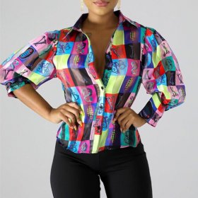Color printed casual stand collar top