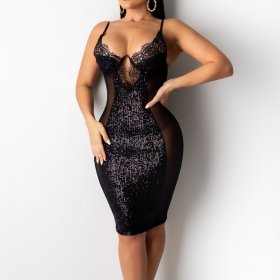 Sexy suspender deep V Sequin lace dress