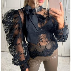 Embroidered bow long sleeve mesh hollow top lace shirt