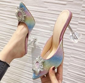 Sunflower transparent glass and color Sequin high heel mop