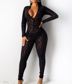 Fashion sexy mesh flocking Leopard Print Long Sleeve perspective Jumpsuit