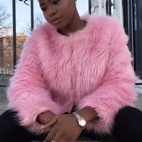 Fluffy Warm Faux Fur Coat Women Hairy Collarless Overcoat White Pink Chic Long Sleeve Female Outerwear Autumn Winter Coat Jacket