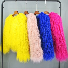 Colorful Boho Furry Faux Fur Coat Plus Size Women Fur Coats Autumn Winter Pink Faux Fur Shaggy Jacket fourrure bontjas