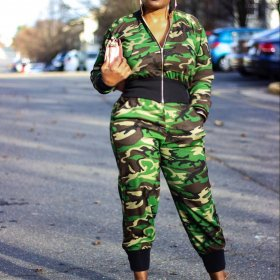Casual camouflage two piece women's suit