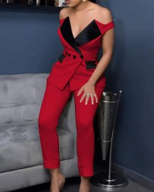One shoulder contrast tight suit