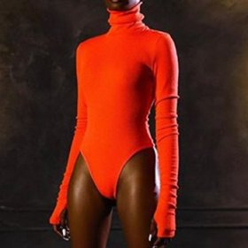 High neck long sleeve sexy BODYSUIT