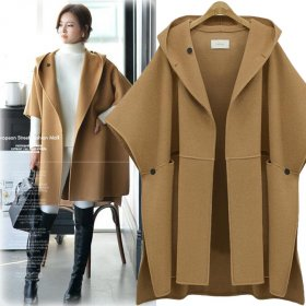 Wool Coat Women Bat Sleeve Woolen Cape Coats Ladies Elegant Wool Jacket Split Streetwear Hoodie Cloak Overcoa