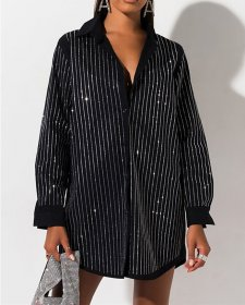 Hot drill stripe sexy shirt dress