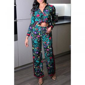 Printed fashion casual women's suit pants