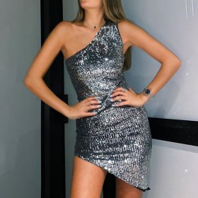 Sexy one shoulder sleeveless shiny beaded dress