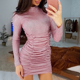 Slim pleated Sequin Long Sleeve Dress