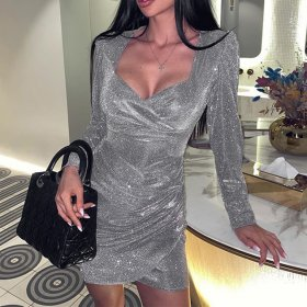 Slim Sequin Long Sleeve Dress