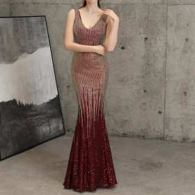 Red Sequined Deep V Neck Sleeveless Backless Mermaid Long Sexy Party Dress Elegant Special Occasion Dresses Plus Size Club Wear
