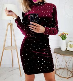Elegant slim velvet long sleeve dress