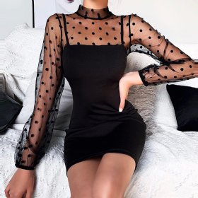 Polka Dots long sleeve Mini Dress