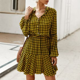 Temperament commuter Plaid Dress