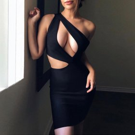 Sexy one shoulder short skirt with hollow buttock dress