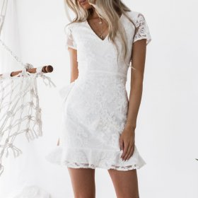 Embroidered hem Ruffle lace skirt