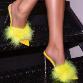 Sexy feather crystal high heel pointed sandals