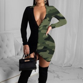 Long sleeve camouflage hollow color patchwork dress