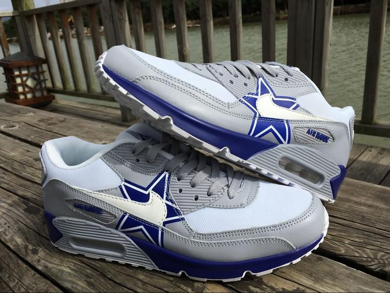Men Women 2017 Dallas Cowboys Grey Blue Shoes Nike Air Max Sneakers