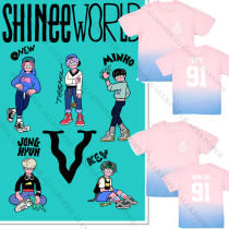 ALLKPOPER KPOP SHINee WORLD Tour T-shirt Unisex TAEMIN Gradient Tshirt MINHO Cotton Tee